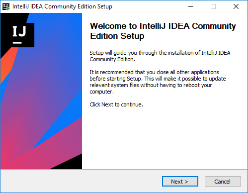 Intellij - ekran instalatora