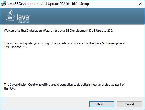 Java developer kit - ekran instalatora